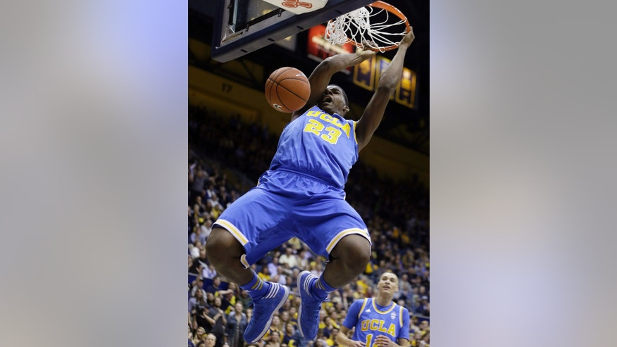 UCLA's Tony Parker scores against California during the first half of an NCAA college basketball game Wednesday, Feb. 19, 2014, in Berkeley, Calif. (AP Photo/Ben Margot)