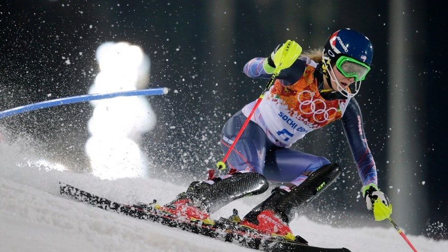 Feb. 21, 2014 - Gold medal winner Mikaela Shiffrin skis past a gate in the women's slalom at the Sochi 2014 Winter Olympics in Krasnaya Polyana, Russia.