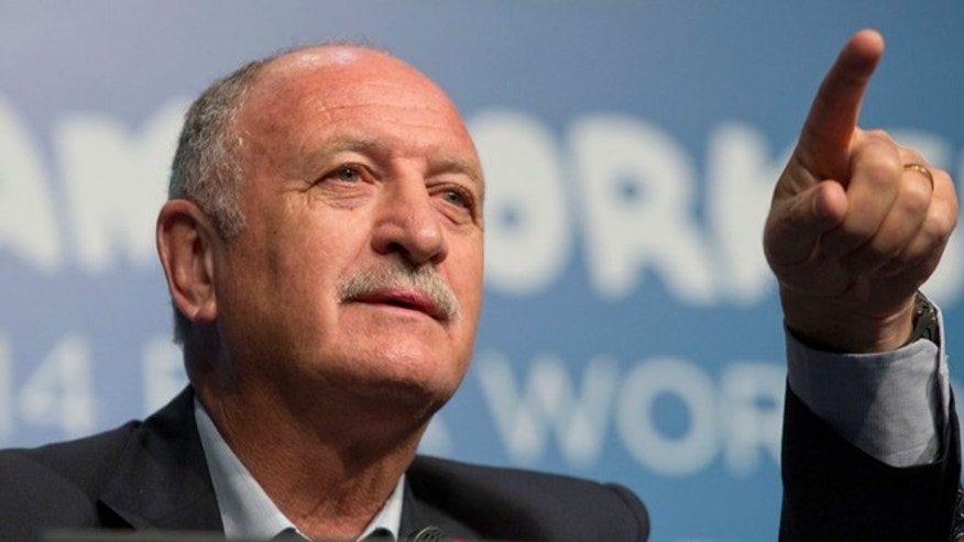 Brazil's soccer coach Luiz Felipe Scolari gives a news conference at a Team Workshop for the 2014 World Cup at the Costao do Santinho hotel in Florianopolis, Brazil, Wednesday, Feb. 19, 2014. (AP Photo/Andre Penner)