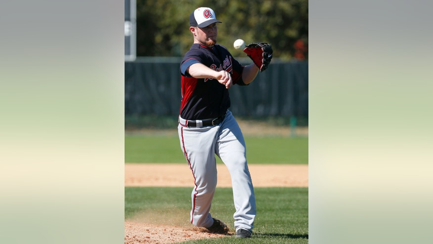 Atlanta Braves relief pitcher Craig Kimbrel makes a throw to home during a spring training baseball workout, Tuesday, Feb. 18, 2014, in Kissimmee, Fla. (AP Photo/Alex Brandon)