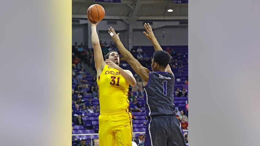 Iowa State forward Georges Niang (31) shoots against TCU center Karviar Shepherd (1) during the first half of an NCAA college basketball game Saturday, Feb. 22, 2014, in Fort Worth, Texas. (AP Photo/LM Otero)