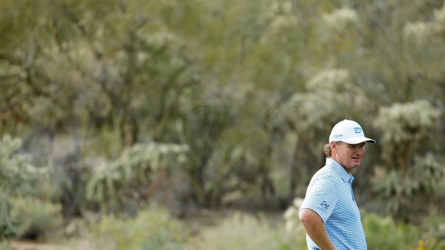 Ernie Els, of South Africa, stands on the green on the 14th hole in his third-round match against Jason Dufner, of the United States, in the Match Play Championship golf tournament, Friday, Feb. 21, 2014, in Marana, Ariz. (AP Photo/Matt York)