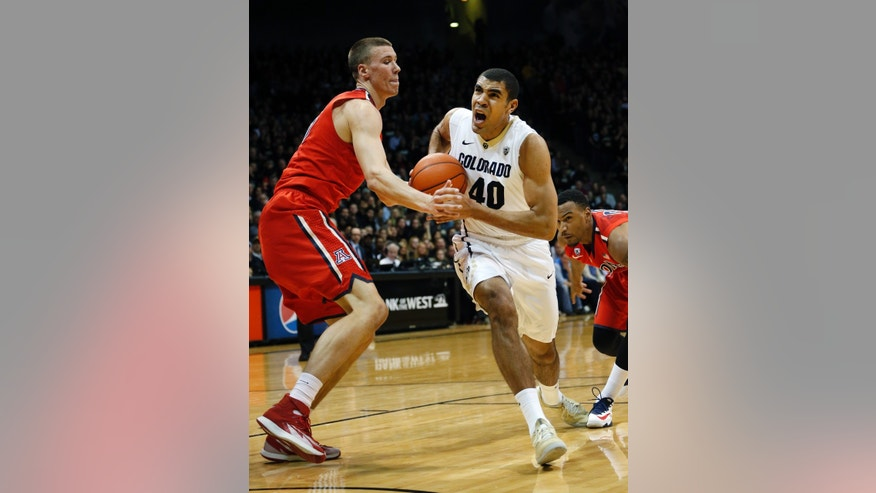 Colorado's Josh Scott drives down court as he is covered by Arizona's Kaleb Tarczewski during the first half of an NCAA college basketball game, in Boulder, Colo., Saturday, Feb. 22, 2014. (AP Photo/Brennan Linsley)