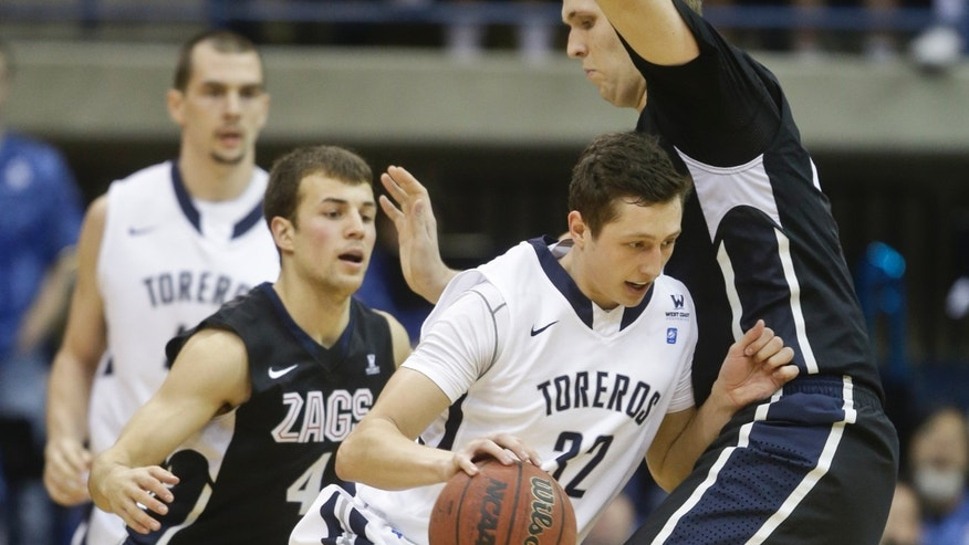 San Diego forward Brett Bailey tries to move Gonzaga center Przemek Karnowskit during the first half of a NCAA college basketball game  Saturday, Feb. 22, 2014, in San Diego. (AP Photo/Lenny Ignelzi)