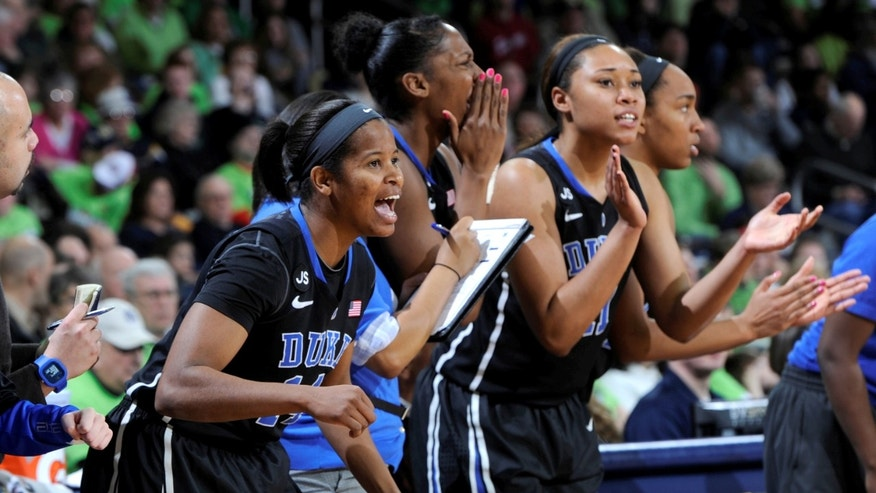 The Duke bench reacts in the second half of an NCAA women's college basketball game with Notre Dame, Sunday, Feb. 23, 2014, in South Bend, Ind. Notre Dame won 81-70. (AP Photo/Joe Raymond)
