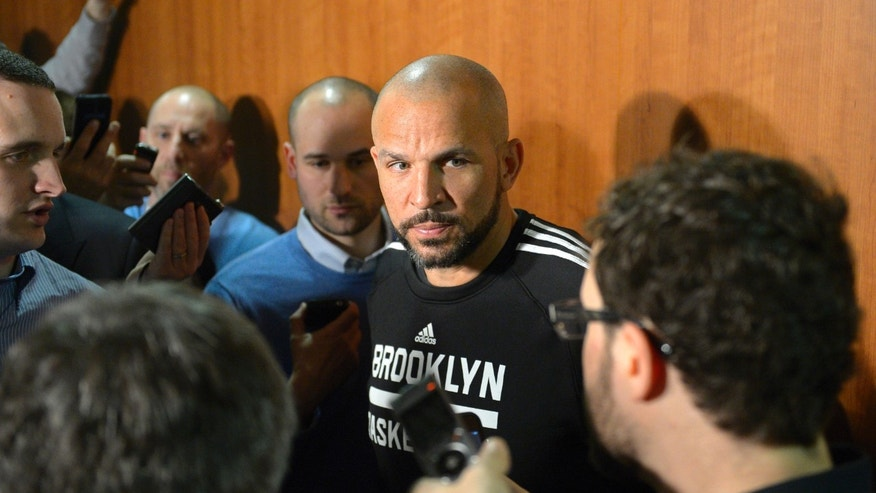 Brooklyn Nets head coach Jason Kidd speaks during a news conference prior to an NBA basketball game against the Los Angeles Lakers, Sunday, Feb. 23, 2014, in Los Angeles. (AP Photo/Mark J. Terrill)
