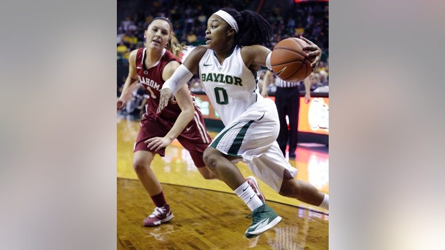Baylor guard Odyssey Sims (0) drives past Oklahoma guard Nicole Kornet (1) during the first half of an NCAA college basketball game, Monday, Feb. 24, 2014, in Waco, Texas. (AP Photo/LM Otero)