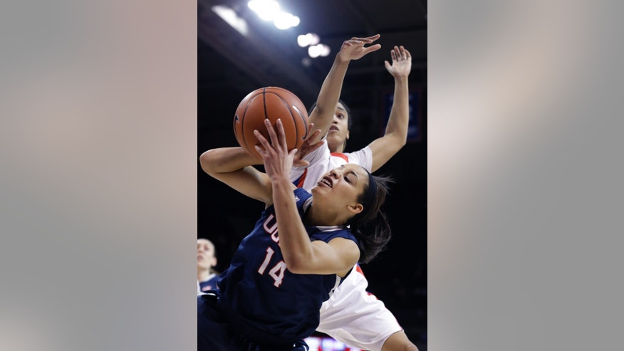 Connecticut guard Bria Hartley (14) tries to make a shot against SMU guard Keena Mays (23) during the second half of an NCAA college basketball game against SMU Tuesday, Feb. 25, 2014, in Dallas. Connecticut won 81-48. (AP Photo/LM Otero)