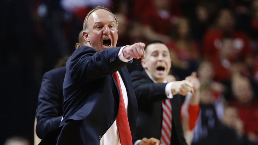 FILE - In this Jan. 20, 2014 file photo, Ohio State coach Thad Matta yells instructions in the first half of an NCAA college basketball game against Nebraska in Lincoln, Neb. Having regained some momentum after a calamitous January, the Buckeyes haven't forgotten what Penn State did to them in the first meeting and look to avenge the earlier loss Thursday night, feb. 27,  in State College. (AP Photo/Nati Harnik, File)
