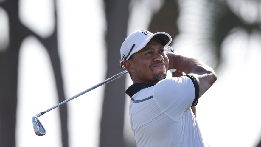 Golfer Tiger Woods tees off on the fourth hole during the Pro-Am round of the Honda Classic golf tournament, Wednesday, Feb. 26, 2014 in Palm Beach Gardens, Fla. (AP Photo/Wilfredo Lee)