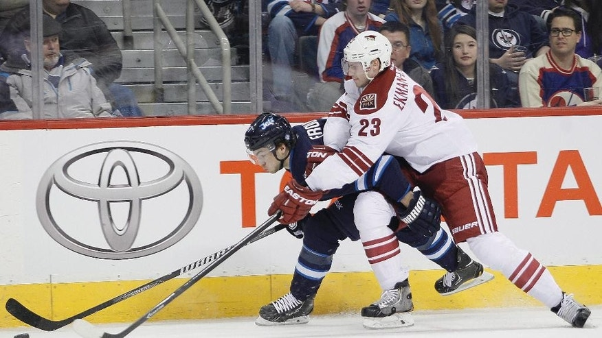 Phoenix Coyotes' Oliver Ekman-Larsson (23) is called for interference on Winnipeg Jets' Michael Frolik (67) during second-period NHL hockey game action in Winnipeg, Manitoba, Thursday, Feb. 27, 2014. (AP Photo/The Canadian Press, John Woods)