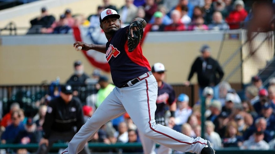 Atlanta Braves relief pitcher Wirfin Obispo throws during the fifth inning of an exhibition spring training baseball game against the Detroit Tigers in Lakeland, Fla.,  Thursday, Feb. 27, 2014. The Tigers won 5-2. (AP Photo/Gene J. Puskar)