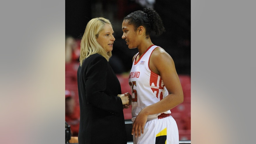 ADVANCE FOR WEEKEND EDITIONS, MARCH 1-2 - FILE - In this Dec. 14, 2013 file photo, Maryland's coach Brenda Frese, left, talks with Alyssa Thomas during an NCAA basketball game against Delaware State  in College Park, Md. Back in the summer of 2008,  Frese decided to forego a scouting trip to Argentina in favor of checking out a little-known prospect named Alyssa Thomas play in Baltimore. Now a senior, Thomas is poised to become the school's leading scorer and rebounder, and Sunday her No. 25 will be raised to the rafters of Maryland's home court.  (AP Photo/Gail Burton, File)