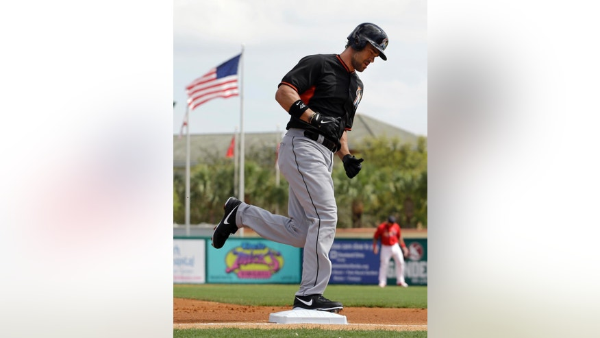 Miami Marlins' Garrett Jones rounds the bases after hitting a two-run home run during the first inning of an exhibition spring training baseball game against the St. Louis Cardinals Friday, Feb. 28, 2014, in Jupiter, Fla. The Marlins won 5-4. (AP Photo/Jeff Roberson)