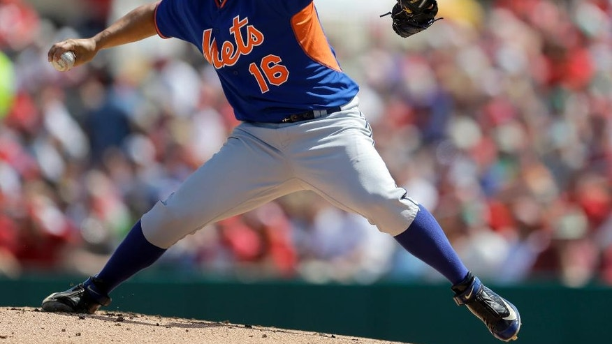 New York Mets starting pitcher Daisuke Matsuzaka throws during the first inning of an exhibitionbaseball game against the St. Louis Cardinals on Sunday, March 2, 2014, in Jupiter, Fla. (AP Photo/Jeff Roberson)