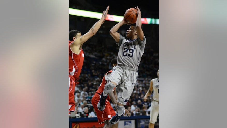 Penn State's Tim Frazier (23) looks for a shot during the first half of an NCAA college basketball game against Wisconsin, Sunday, March 2, 2014 in State College, Pa. (AP Photo/Ralph Wilson)