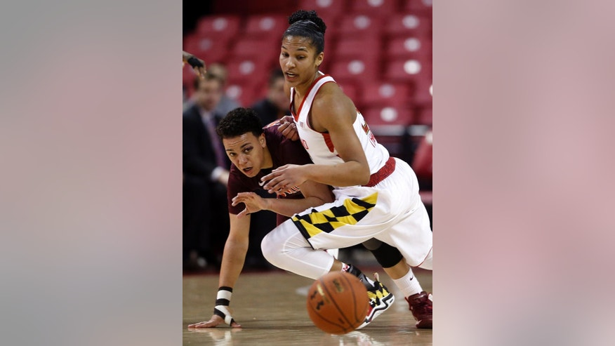 Maryland forward Alyssa Thomas, front, keeps Virginia Tech guard Monet Tellier away from a loose ball in the first half of an NCAA college basketball game in College Park, Md., Sunday, March 2, 2014. (AP Photo/Patrick Semansky)