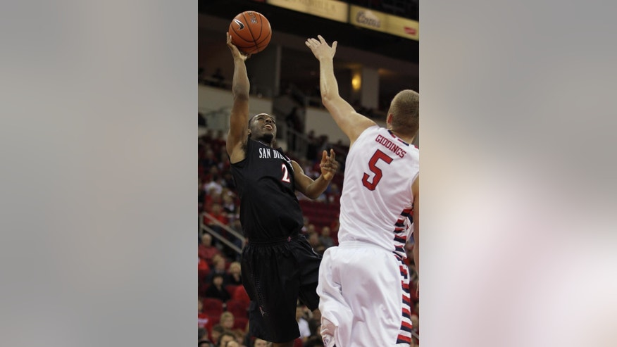 San Diego State's Xavier Thames puts up a shot over Fresno State's Tanner Giddings in the first half of an NCAA college basketball game in Fresno, Calif., Saturday, March 1, 2014. (AP Photo/Gary Kazanjian)