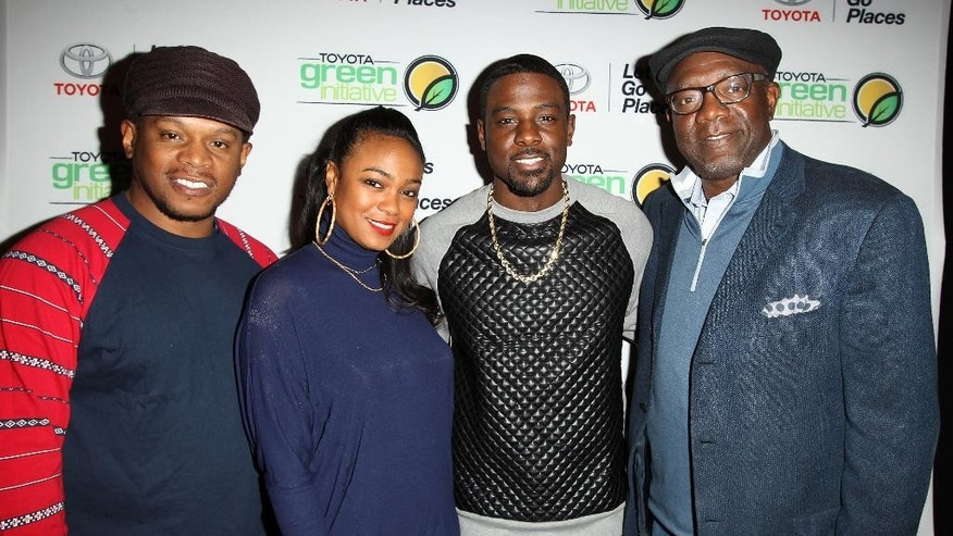 Sway Calloway, left, actress Tatyana Ali, actor Lance Gross and Jim Colon, vice president of Toyota African American Business Strategy for North America, attend the TGI Forum at the CIAA 2014 Basketball Tournament, on Saturday, March 1, 2014, in Charlotte, N.C. (Photo by Donald Traill/Invision /AP Images)