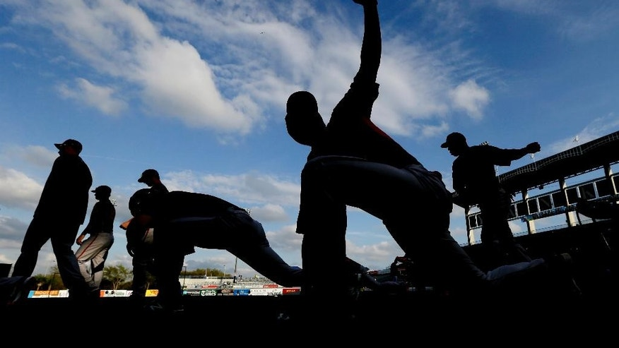 Baltimore Orioles players stretch before an exhibition baseball game against the New York Yankees on Tuesday, March 4, 2014, in Tampa, Fla. (AP Photo/Charlie Neibergall)