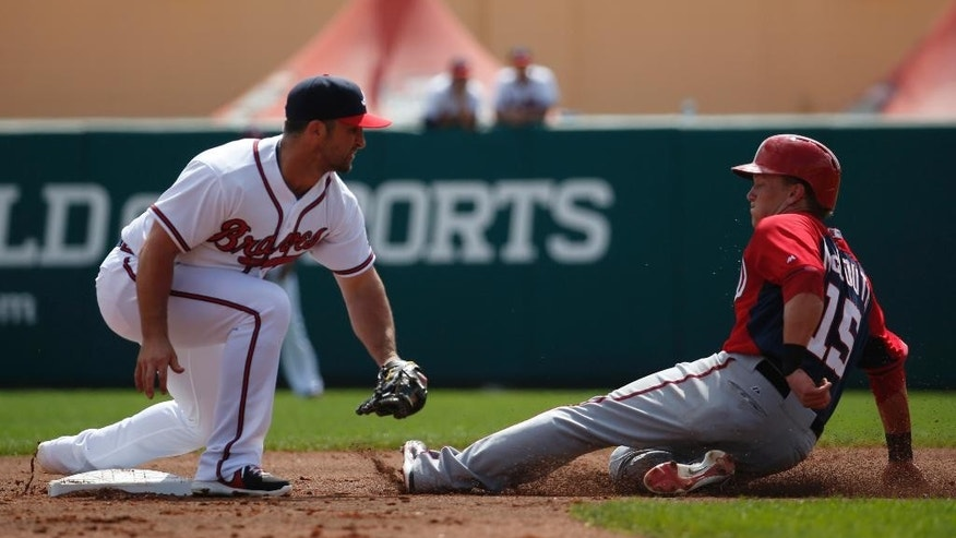 Atlanta Braves second baseman Dan Uggla (26) waits to make the tag on Washington Nationals' Nate McLouth (15) who was out at second on the steal attempt, in the third inning of a spring exhibition baseball game, Tuesday, March 4, 2014, in Kissimmee, Fla. (AP Photo/Alex Brandon)