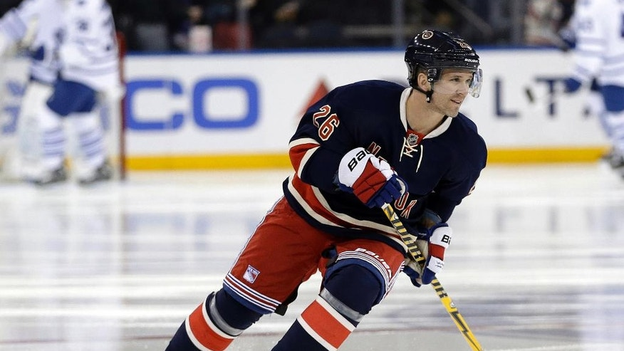 New York Rangers' Martin St. Louis skates before an NHL hockey game against the Toronto Maple Leafs on Wednesday, March 5, 2014, in New York. (AP Photo/Frank Franklin II)