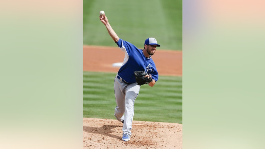 Kansas City Royals starting pitcher James Shields pitches to an Arizona Diamondbacks batter during the first inning of an exhibition spring training baseball game Wednesday, March 5, 2014, in Scottsdale, Ariz. (AP Photo/Gregory Bull)