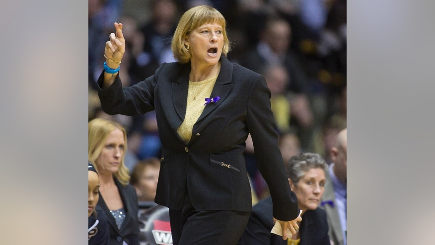 Purdue coach Sharon Versyp calls a play for her team during an NCAA college basketball game against Nebraska on Sunday, March 2, 2014, at Mackey Arena in West Lafayette, Ind. Purdue won 82-66. (AP Photo/Journal & Courier, Michael Heinz) NO SALES