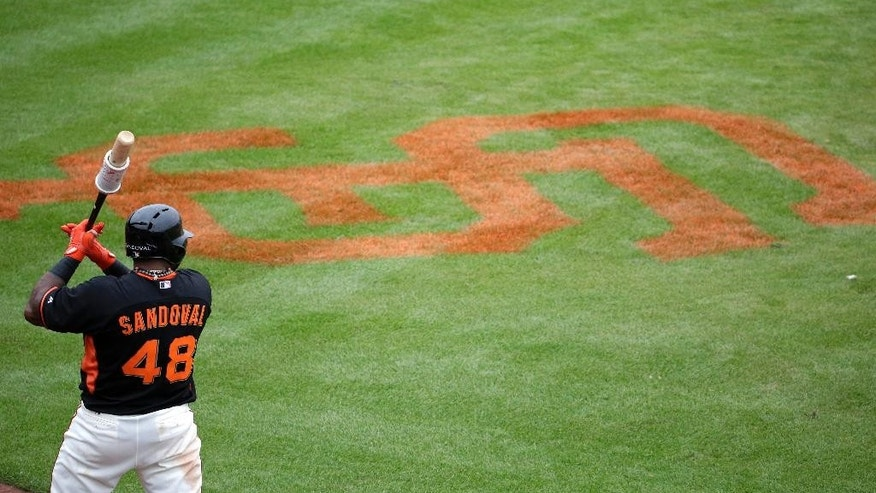 San Francisco Giants' Pablo Sandoval warms up during the fifth inning of a spring training baseball game against the Cincinnati Reds in Scottsdale, Ariz., Thursday, March 6, 2014. (AP Photo/Chris Carlson)