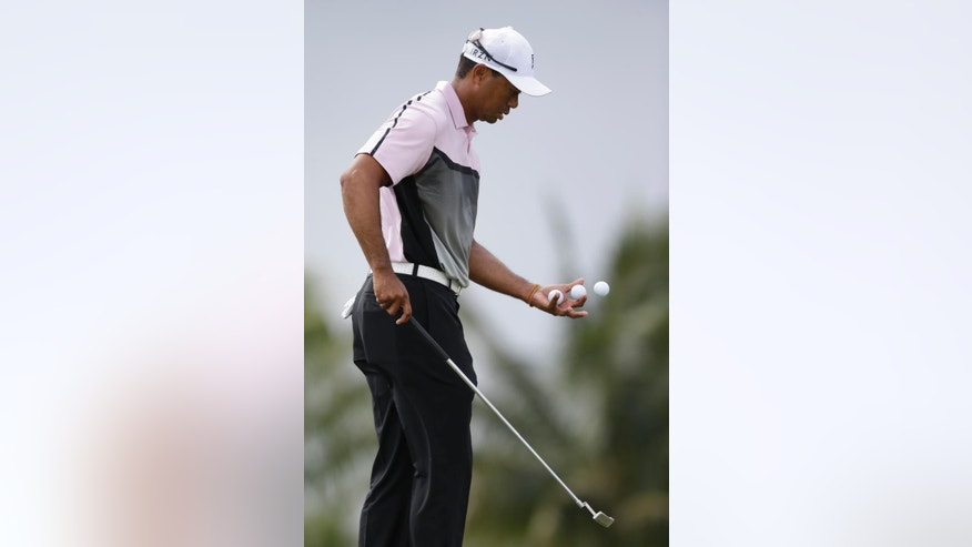 Golfer Tiger Woods gathers his balls as he putts on the fifth hole during a practice round in the Cadillac Championship golf tournament, Wednesday, March 5, 2014 in Doral, Fla. Three days after he withdrew in the middle of the final round at the Honda Classic with lower back pain, Woods returned to work at the Cadillac Championship by saying he feels better after a few days of constant treatment, and that he was good enough to try to defend his title. (AP Photo/Wilfredo Lee)