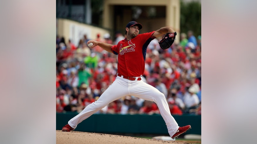 St. Louis Cardinals starting pitcher Michael Wacha throws during the second inning of an exhibition spring training baseball game against the Washington Nationals, Saturday, March 8, 2014, in Jupiter, Fla. (AP Photo/David Goldman)