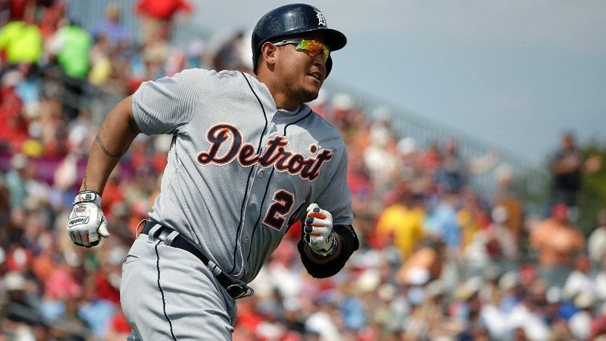 Detroit Tigers' Miguel Cabrera hits a two-run home run in the third inning of an exhibition spring training baseball game against the St. Louis Cardinals, Monday, March 10, 2014, in Jupiter, Fla. (AP Photo/David Goldman)