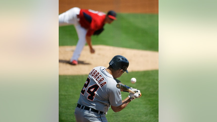 Detroit Tigers' Miguel Cabrera swings to hit a single against St. Louis Cardinals starting pitcher Shelby Miller in the first inning of an exhibition spring training baseball game, Monday, March 10, 2014, in Jupiter, Fla. (AP Photo/David Goldman)