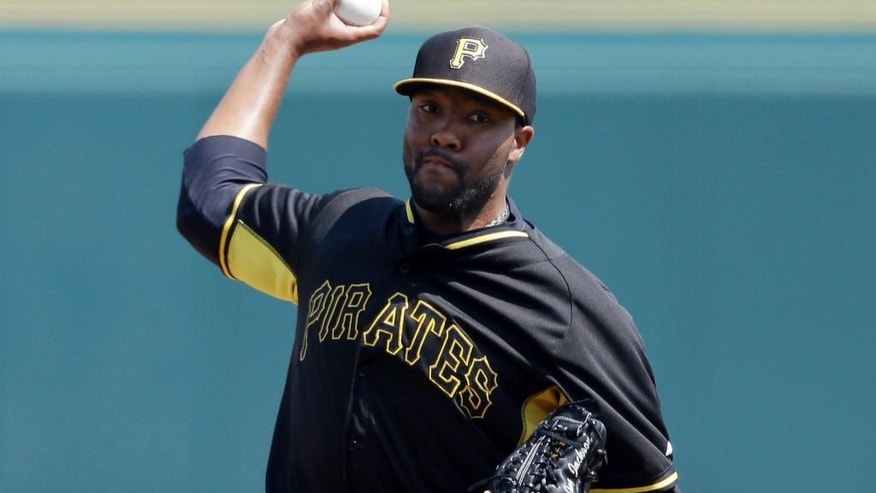 Pittsburgh Pirates pitcher Jay Jackson throws during the first inning of a spring exhibition baseball game against the Baltimore Orioles in Bradenton, Fla., Monday, March 10, 2014. (AP Photo/Carlos Osorio)