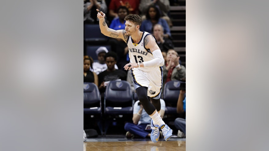 Memphis Grizzlies forward Mike Miller celebrates a score against the Portland Trail Blazers in the first half of an NBA basketball game on Tuesday, March 11, 2014, in Memphis, Tenn. (AP Photo/Mark Humphrey)