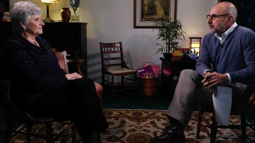 "March 10, 2014: In this photo provided by NBC News, Matt Lauer, right, talks with Dottie Sandusky, wife of former Penn State assistant football coach Jerry Sandusky, during an interview that aired on NBC's ""Today"" show on Wednesday, March 12, 2014."