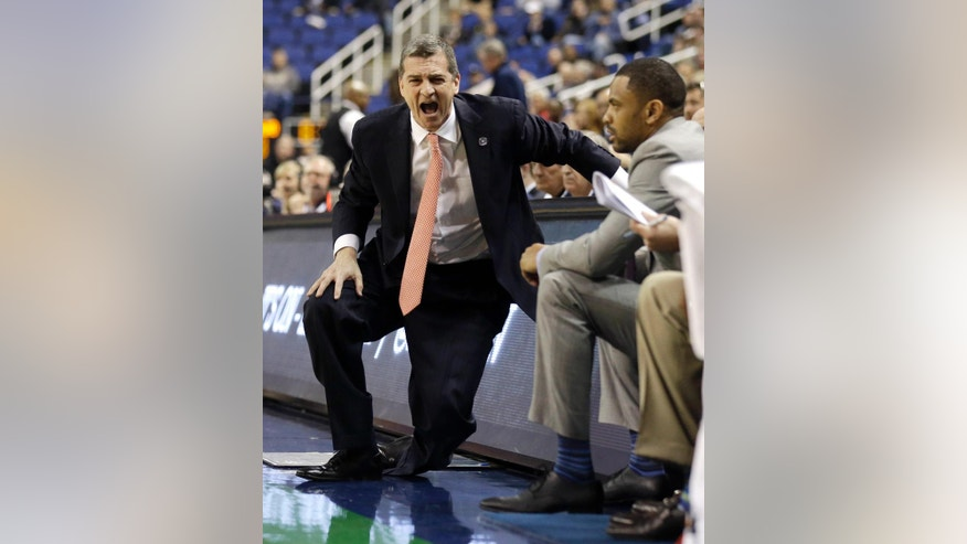 Maryland head coach Mark Turgeon reacts to a call during the first half of a second round NCAA college basketball game against Florida State at the Atlantic Coast Conference tournament in Greensboro, N.C., Thursday, March 13, 2014. (AP Photo/Gerry Broome)