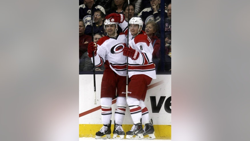 Carolina Hurricanes' Andrei Loktionov, right, of Russia, celebrates with teammate Patrick Dwyer after Dwyer's goal against the Columbus Blue Jackets  in the second period of an NHL hockey game in Columbus, Ohio, Tuesday, March 18, 2014. Carolina won 3-1.(AP Photo/Paul Vernon)