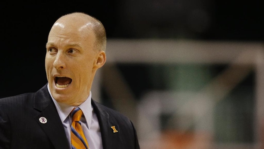 Illinois head coach Matt Bollant shouts out instructions during the first half of their NCAA mens college basketball game in the first round of the NIT tournament in Boston, Wednesday, March 19, 2014. (AP Photo/Stephan Savoia)