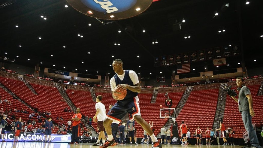 Arizona forward Rondae Hollis-Jefferson works on his game during practice at the NCAA college basketball tournament Thursday, March 20, 2014, in San Diego. Arizona faces Weber State in a second-round game on Friday. (AP Photo/Lenny Ignelzi)
