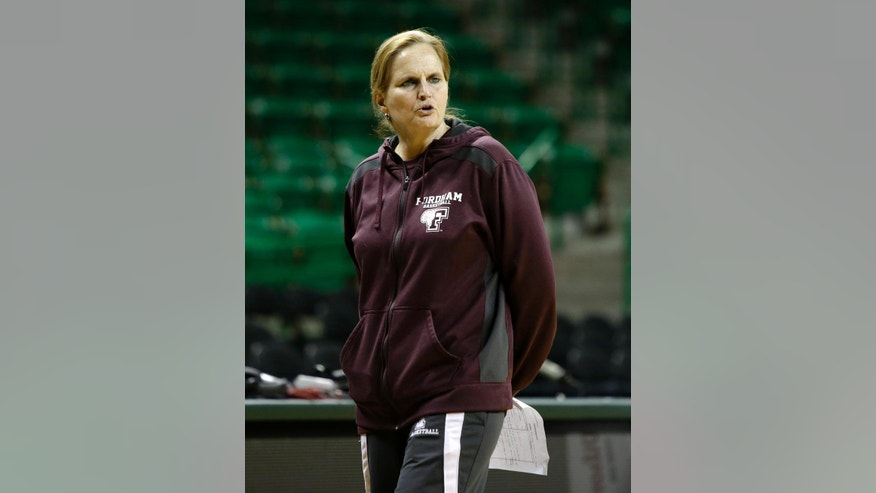 Fordham coach Stephanie Gaitley instructs her team during practice for the NCAA women's college basketball tournament, Friday, March 21, 2014, in Waco, Texas. Fordham plays against California in a first-round game on Saturday. (AP Photo/Tony Gutierrez) (AP Photo/Tony Gutierrez)