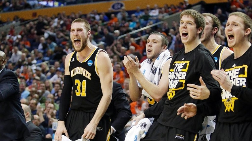 Milwaukee's Matt Tiby (31) joins teammates in cheering during first half of a second-round game against Villanova in the NCAA college basketball tournament in Buffalo, N.Y., Thursday, March 20, 2014. (AP Photo/Nick LoVerde)
