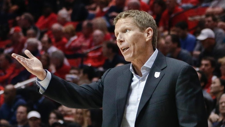 Gonzaga coach Mark Few makes a point with an official during the second half in a second-round game in the NCAA college basketball tournament against Oklahoma State on Friday, March 21, 2014, in San Diego. (AP Photo/Gregory Bull)