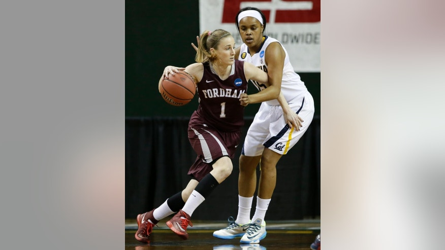 Fordham's Erin Rooney (1) drives against California's Brittany Boyd, right, in the first half of a first-round game in the NCAA women's college basketball tournament, Saturday, March 22, 2014, in Waco, Texas. (AP Photo/Tony Gutierrez)