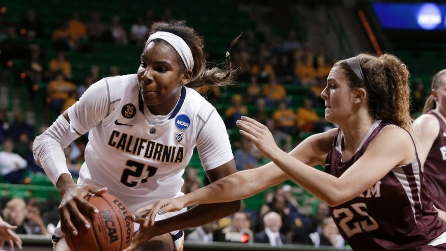 California's Reshanda Gray (21) prepares to go up for a shot as Fordham's Hannah Missry (25) defends in the first half of a first-round game in the NCAA women's college basketball tournament, Saturday, March 22, 2014, in Waco, Texas. (AP Photo/Tony Gutierrez)