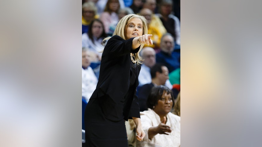 Arizona State head coach Charli Turner Thorne coaches her team against Vanderbilt during the first half in a first-round game in the NCAA women's college basketball tournament, Saturday, March 22, 2014, in Toledo, Ohio. (AP Photo/Rick Osentoski)