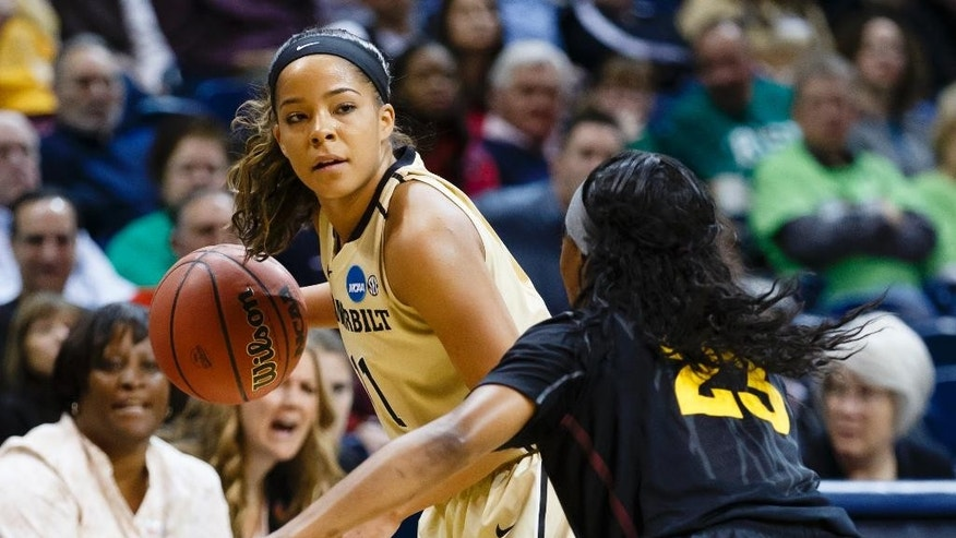 Vanderbilt guard Jasmine Lister (11) dribbles as Arizona State guard Elisha Davis (23) defends during the first half in a first-round game in the NCAA women's college basketball tournament, Saturday, March 22, 2014, in Toledo, Ohio. (AP Photo/Rick Osentoski)