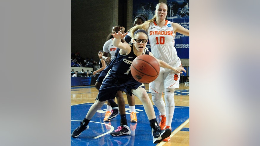 Chattanooga's Alicia Payne (1) and Syracuse's Isabella Slim (10) chase a loose ball during the first half of a first-round game in the NCAA women's college basketball tournament in Lexington, Ky., Saturday, March 22, 2014. (AP Photo/James Crisp)