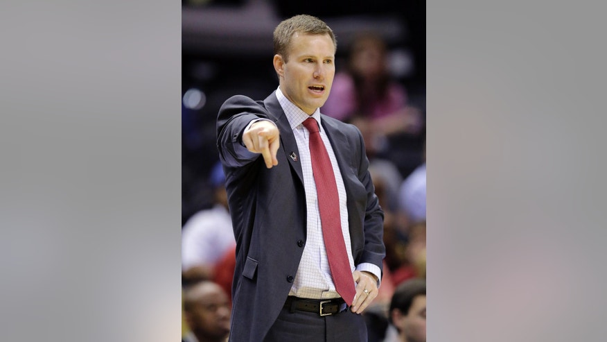 Iowa State head coach Fred Hoiberg talks to his players during the second half of a second-round game against North Carolina Center in the NCAA college basketball tournament Friday, March 21, 2014, in San Antonio. Iowa State won 93-75. (AP Photo/Eric Gay)