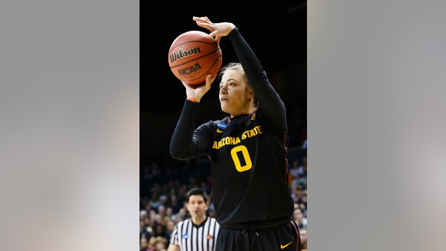 Arizona State guard Katie Hempen (0) shoots a 3-point shot against Vanderbilt during the second half in a first-round game in the NCAA women's college basketball tournament, Saturday, March 22, 2014, in Toledo, Ohio. Arizona defeated Vanderbilt 69-61. (AP Photo/Rick Osentoski)